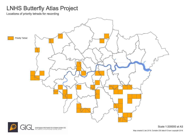London Atlas Map.London Natural History Society Butterfly Atlas