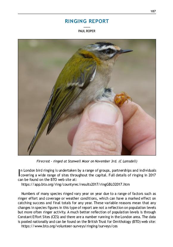London Natural History Society - London Bird Report